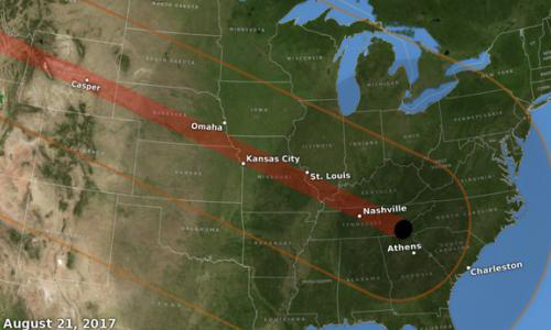 US map showing the path of the eclipse