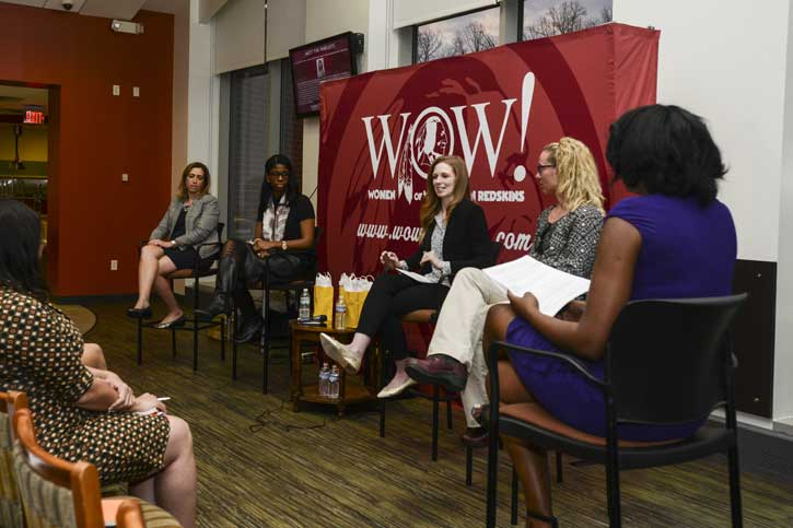 Panelists at a discussion about women in sports management at Mason's Fairfax Campus