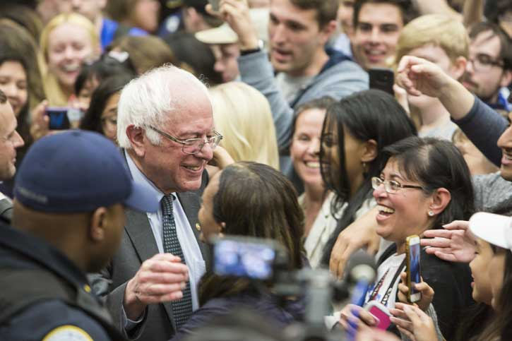 Senator Bernie Sanders meets with students and others after a rally for Tom Perriello at the Hub on the Fairfax Campus on April 6.