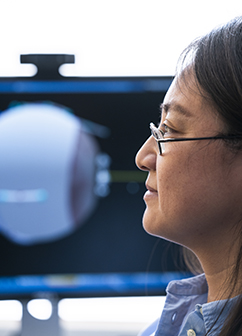 Qi Wei, an associate professor in the bioengineering department, is fine-tuning a computer model that will help with the diagnosis and treatment of crossed eyes.